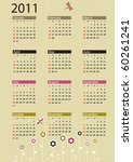 calendar 2011 with flowers and... | Shutterstock .eps vector #60261241