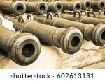 exhibits of old military trunks ... | Shutterstock . vector #602613131