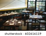 interior view of city restaurant | Shutterstock . vector #602616119