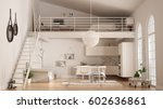 scandinavian minimalist loft ... | Shutterstock . vector #602636861