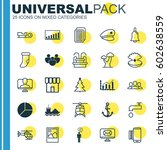 set of 25 universal editable... | Shutterstock .eps vector #602638559