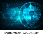 cyber security concept  shield... | Shutterstock .eps vector #602643089