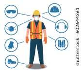 worker with personal protective ... | Shutterstock .eps vector #602644361