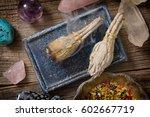 burning natural white sage...   Shutterstock . vector #602667719