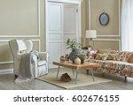 living room classic decoration... | Shutterstock . vector #602676155