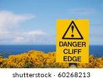 Sign Danger Cliff Edge On The...