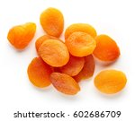 heap of dried apricots isolated ... | Shutterstock . vector #602686709