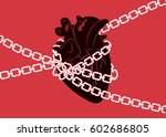 anatomical human heart wrapped... | Shutterstock .eps vector #602686805