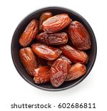 Bowl Of Pitted Dates Isolated...