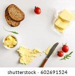 butter  spread or margarine... | Shutterstock . vector #602691524