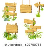 wooden sign set isolated on... | Shutterstock .eps vector #602700755