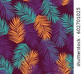 seamless pattern with palms. | Shutterstock .eps vector #602701025