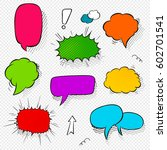 set of comic speech bubbles and ... | Shutterstock .eps vector #602701541