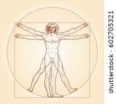 homo vitruviano.  the vitruvian ... | Shutterstock .eps vector #602705321