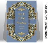 wedding invitation card...   Shutterstock .eps vector #602706104