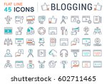 set vector simple line icons ... | Shutterstock .eps vector #602711465