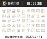 set vector simple line icons ... | Shutterstock .eps vector #602711471