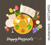 happy passover with seder plate ... | Shutterstock .eps vector #602716931