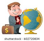 businessman with suitcase full...   Shutterstock .eps vector #602720834