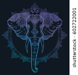 decorative vector elephant with ... | Shutterstock .eps vector #602722001