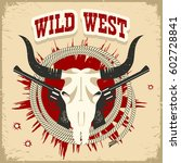 buffalo skull western card with ... | Shutterstock .eps vector #602728841