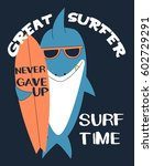 surfer shark illustration... | Shutterstock .eps vector #602729291