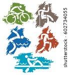 outdoor sports grunge icons.... | Shutterstock .eps vector #602734055