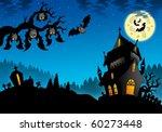 halloween landscape with...   Shutterstock . vector #60273448