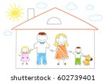 happy family in new house.... | Shutterstock .eps vector #602739401