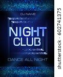 neon sign. night club disco... | Shutterstock .eps vector #602741375