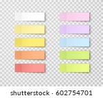 Stock vector post note stickers isolated on transparent background vector color paper sticky tape set with 602754701