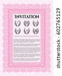 pink invitation template. with... | Shutterstock .eps vector #602765129