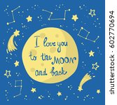 moon in space with stars and... | Shutterstock .eps vector #602770694