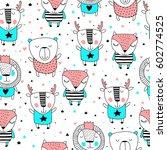 Stock vector cute animals seamless pattern 602774525