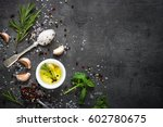 selection of spices herbs and... | Shutterstock . vector #602780675