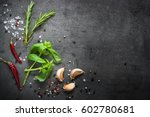 selection of spices herbs and... | Shutterstock . vector #602780681