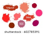 collection red paint splash.... | Shutterstock .eps vector #602785391