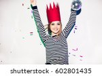 party girl in colorful... | Shutterstock . vector #602801435