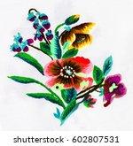 ukrainian folk embroidery ... | Shutterstock . vector #602807531