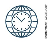 clock inside globe vector icon... | Shutterstock .eps vector #602810909