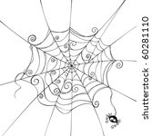 isolated spooky spider web in a ... | Shutterstock .eps vector #60281110