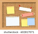 cork board with pinned paper... | Shutterstock .eps vector #602817071