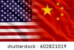 waving usa and china flag | Shutterstock . vector #602821019