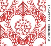 mehendi seamless pattern of red ... | Shutterstock .eps vector #602824475