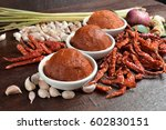 curry paste in  white bowl and... | Shutterstock . vector #602830151