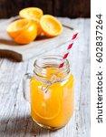 Juice Of Orange In Jar Of Glass ...