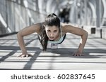 young beautiful and athletic... | Shutterstock . vector #602837645