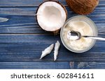 opened glass jar with fresh... | Shutterstock . vector #602841611