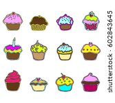 color cupcakes line art icon... | Shutterstock .eps vector #602843645