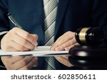 lawyer working with agreement... | Shutterstock . vector #602850611